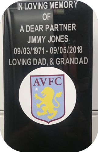Aston Villa F. C. Square grave flower pot.